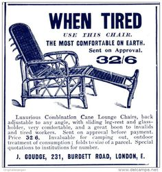 Werbung - Original - Anzeige /Advertise 1903 : (ENGLISH) WHEN TIRED USE THIS CHAIR/ J.GOUDGE LONDON - 65 x 65 mm