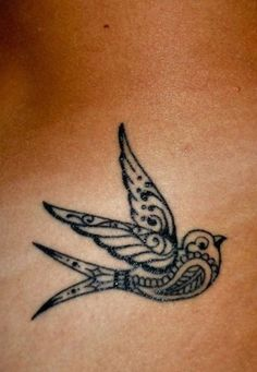 Sparrow - Colored or black sparrow is a good small tattoo idea. #TattooModels #tattoo