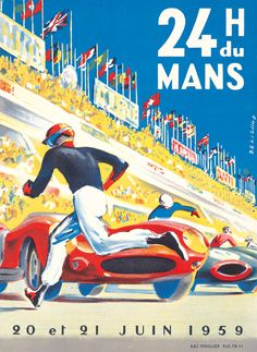 1959 promotional poster/ad for 24 Hours of LeMans.