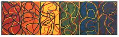 Brice Marden, The Propitious Garden of Plane Image, 2000-2005, Oil on linen, 6 panels: 42 x 24 inches each