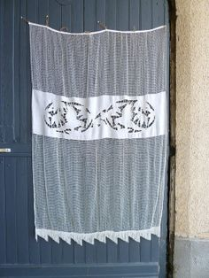 Fillet lace curtain in ecru white cotton handmade by Frenchidyll, $60.00