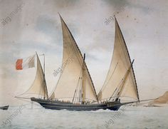 "The xebec ""La Généreuse"", captained by Joseph Francois D'Agostini, 1812, by Nicolas Cammillieri (1768–1828), watercolour. 19th century. Genoa Pegli, Civico Museo Navale"