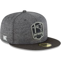 New England Patriots New Era 2018 NFL Sideline Road Black 59FIFTY Fitted  Hat – Heather Gray Heather Black e3135d6b375b