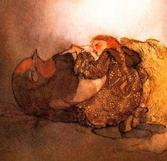 1980 Zwerger Lisbeth Thumbelina says Goodbye  Original 1st Ed Full Page Color Book Art Print