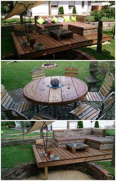 #Garden, #PalletDeck, #PalletLounge, #RecycledPallet