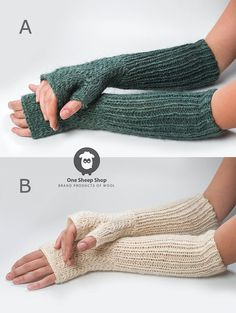 Long knitted mittens Wool Fingerless gloves Woolen by OneSheepShop