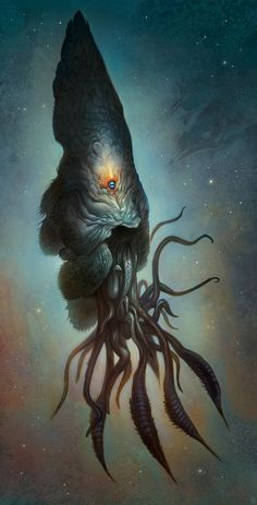 Yawanpok the Void Menace Art Print by Mark Facey - X-Small Monster Concept Art, Fantasy Monster, Monster Art, Alien Creatures, Fantasy Creatures, Mythical Creatures, Strange Creatures, Call Of Cthulhu, Creature Concept Art