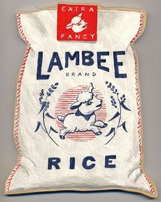 Vintage Graphic Design Lambee Rice by Sandra Eterovic PD - Rice Packaging, Cool Packaging, Vintage Packaging, Brand Packaging, Beverage Packaging, Typography Design, Branding Design, Logo Design, Lettering