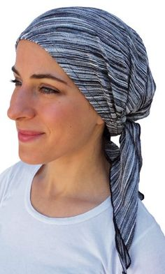 Premium Headscarf Pre-Tied Fitted Women's Turban Headwear (BLACK GREY TEXTURED) (CITY GIRL) (MEDIUM). STUNNING pre tied head scarf for women. Black grey silver TEXTURED NOVELTY FABRIC. COMFORTABLE, SECURE FIT: Our products are designed with both men and women in mind. Made from top quality fabrics such as 100% American Organic Cotton, Lace, Bamboo and Denim. NO FUSS DESIGN: Head friendly and offers FULL-COVERAGE. Easy on - easy off. Ideal for cancer patients undergoing chemotherapy treatment…