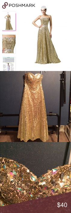 Grace Karen strapless gold sequined size 6 dress Amazing strapless gown  size 6 by grace Karen boning in front for shaping support laces up the back to fit snugly to your body we cut the lining of the bottom of the dress because it was too long see photo there are a few gold sequins missing here and there on the bottom hem of the dress but who's looking at the bottom hem  right ??? See website for more description grace karen Dresses Strapless