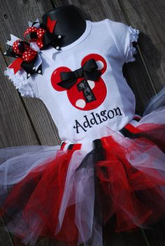 Personalized Minnie Mouse Tutu Birthday Outfit