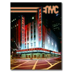 Radio City Music Hall, Rockefeller Center, New York City. Photo by Carol Highsmith, LOCDesign © HTM Images #radio #city #music #hall #nyc #new #york #city #neon #lights #night #historical #theatre #street #pedestrian #crossing #intersection #rockefeller #art #deco #theater