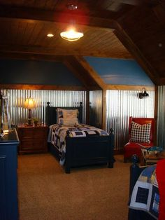 Thinking about making the upstairs rooms two completely different colors. This Blue with the time walls would work!