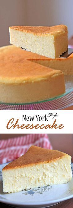 New York Style Cheesecake is creamy smooth lightly sweet with a touch of lemon Suffice it to say my search for the perfect cheesecake recipe ends here explorecheesecake s. No Bake Desserts, Just Desserts, Dessert Recipes, Party Desserts, Baking Desserts, Health Desserts, Perfect Cheesecake Recipe, Lemon Cheesecake, Homemade Cheesecake