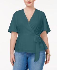 Monteau Trendy Plus Size Faux-Wrap Blouse - Purple 2X