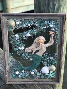 Large Beach Glass, Mermaid, and Starfish in Barnwood Frame, Beach Glass Wave Sea Glass Crafts, Sea Crafts, Resin Crafts, Sea Glass Beach, Sea Glass Art, Mermaid Diy, Barn Wood Frames, Window Art, Shell Art