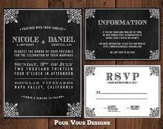 Hey, I found this really awesome Etsy listing at https://www.etsy.com/listing/109608143/elegant-wedding-invitation-black-white