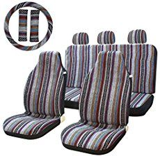 Stripe Multi-Color Seat Cover Baja Saddle Blanket Weave Universal Bucket Seat Cover Fit for Cars, Trucks, SUVS & Vans with Steering Wheel Cover Best Baby Car Seats, Best Car Seat Covers, Bucket Seat Covers, Bench Seat Covers, Bucket Seats, Car Covers, Jeep Seat Covers, Jeep Cherokee, Vw Bus