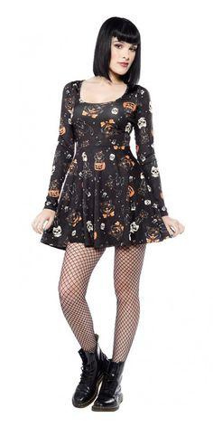 Sourpuss Black Cats Skater Dress in Black Blame Betty5 Dress Silhouette f86ebd8dd64e