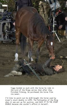 Viggo Mortensen bonded so much with the horse he rode in LOTR, he bought it from its owner.