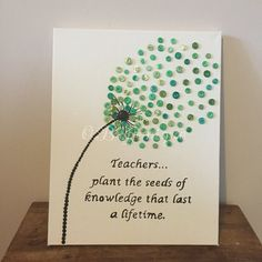 Handmade teacher canvas by ButtoniqueUK on Etsy