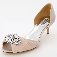 Badgley Mischka Wedding Shoes. A sophisticated shade of pink on a practical low heel with a vintage glam vibe. Bridal shoes with aisle style.