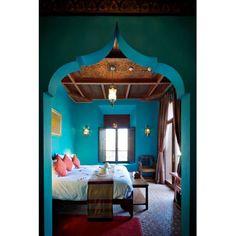 chambre coucher bleu turquoise style oriental - Chambre Orientale Bleue