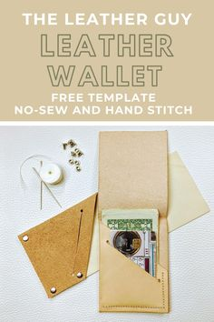 Make yourself a modern, simple leather wallet in under an hour! Best Leather Wallet, Leather Gifts, Diy Leather Projects, Sew Wallet, Leather Scraps, Sewing Leather, Leather Pieces, Stitching Leather, Small Leather Goods