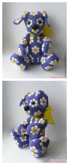 Crochet African Flower Motif Puppy Photo Tutorial