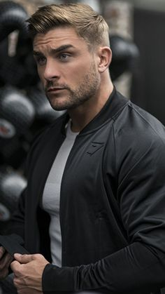 Gymshark Terrain Bomber Jacket is a marriage of athletic tailoring and iconic fashion.With a classic tapered fit, unique design details and effortless style. Beautiful Men Faces, Gorgeous Men, He's Beautiful, Beard Styles For Men, Hair And Beard Styles, Short Beard, Blonde Guys, Handsome Faces, Good Looking Men