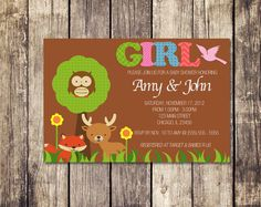 Forest Animal Baby Shower Invitation - Boy OR Girl Option - Print Yourself. $8.00, via Etsy. #girl #baby #shower #invitation #forest #animals