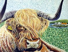 paintings in acrylic and gouache of wild animals, farm animals and domestic animals