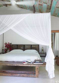 beautiful rustic bedroom with turquoise ceiling | Wilbert Das