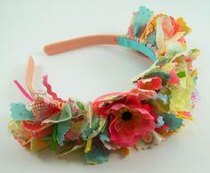 Rag Fabric Flower Headband Tutorial PDF Shabby Sweet made from fabric scraps