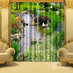 Wonderful Stream of Water Polyester 2-Piece 3D Curtains - beddinginn.com
