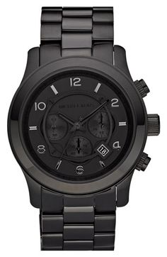 Michael Kors 'Blacked Out Runway' Chronograph Watch | Nordstrom. Maybe it's just me but I love flat black and black on black EVERYTHING. It's kind like wearing a Lexus on your wrist.