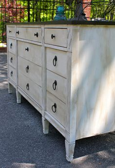 Annie Sloan Chalk Paint in Pure White, a coat of clear wax and a coat of dark wax.