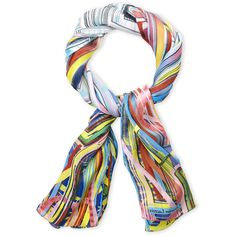 Christian Lacroix Printed Silk Shawl ($130) ❤ liked on Polyvore featuring accessories, scarves, white, silk scarves, shawl scarves, silk shawl, christian lacroix and christian lacroix scarves