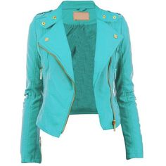 Diana New Womens Faux Leather Biker Gold or Metal Button Zip Crop... ❤ liked on Polyvore