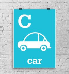 Cute light blue CAR WALL art print for kids by LouLoutePaperie, $14.00