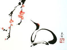 Pix For > Sumi E Painting Crane