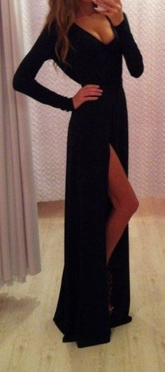 Elegant, simple black dress. Perfect for a formal and doesn't take away from the hair and makeup.