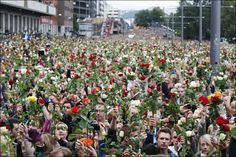 These 75 Iconic Photos Will Define The Century So Far. Everyone Needs To See This.Norwegian citizens hold a Flower March after terrorist attacks by Anders Breivik killed 77 people 2011 Norwegian People, Iconic Photos, Weird Pictures, People Of The World, Historical Photos, Beautiful World, Oslo, Respect, Past