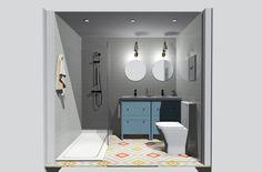 Proyecto 3D - Decotheco.com Baño estilo vintage renovado #baño #bathroom #vintage #hisbalit #decotheco