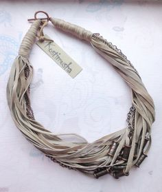 Beige Leather  Necklace with Copper Chains and от Kostimusha, $58.00