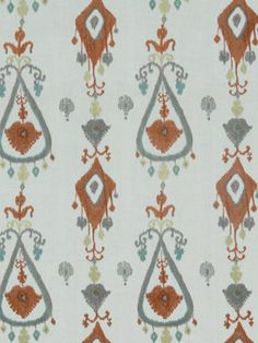 Orange Grey Aqua Upholstery Fabric  Embroidered by PopDecorFabrics