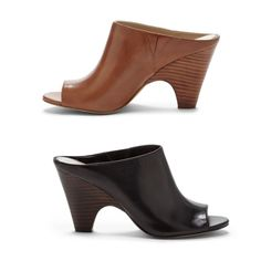 Slip-on leather mules with stacked cone heel and peep toe. It's a hybrid of a wedge and sandal.