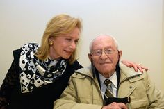 Holocaust survivor Robert Tomashof with his daughter before the opening ceremony of Holocaust Remembrance Day 2016 at Yad Vashem. Each year, six Holocaust survivors are chosen to light torches in memory of the six million Jews who were murdered during the Holocaust. Robert Tomashof lit one of six torches today