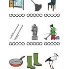 Sig ordene tydeligt (de begynder alle sammen med /sd/) og markér i cirklerne, hvor mange stavelser hvert ord har....