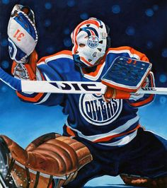 Grant Fuhr, Edmonton Oilers by Tony Harris Hockey Goalie, Hockey Teams, Hockey Players, Ice Hockey, Hockey Pictures, Sports Pictures, Nhl, Hockey Rules, Canadian Football